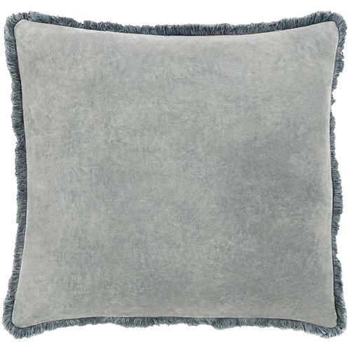 Washed Cotton Velvet Pillow - Medium Gray