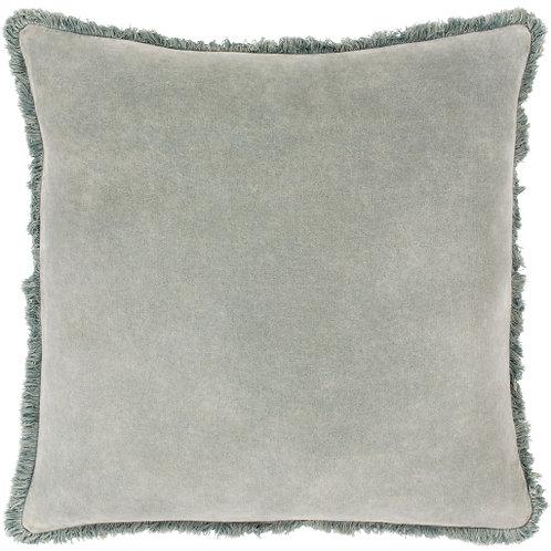 Washed Cotton Velvet Pillow - Sea Foam