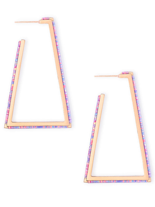 Easton Rose Gold Hoop Earrings In Lavender Kyocera Opal