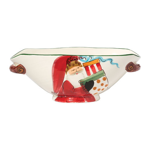 Old St. Nick Handled Oval Bowl w/ Presents