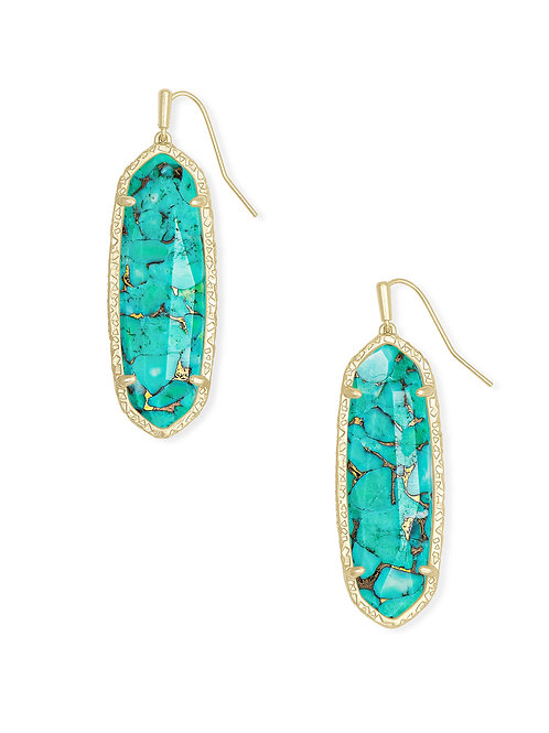 Layla Gold Drop Earring - Bronze Veined Teal Magnesite
