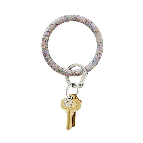 Big O Key Ring - Rainbow Confetti - Silicone