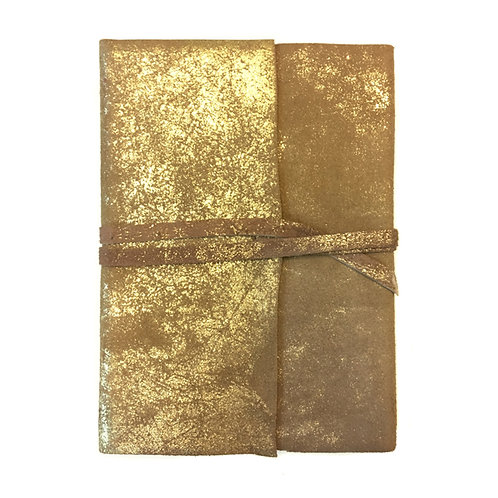 Leather Foiled Wrapped Journal in Gold