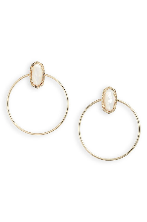MAYRA OPEN FRAME EARRING GOLD IVORY MOP