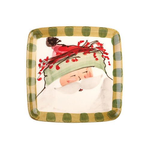 Old St. Nick Square Salad Plate - Green Hat