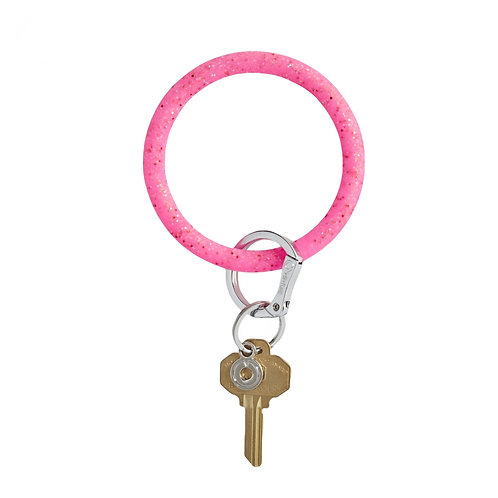 Big O Key Ring - Tickled Pink Confetti - Silicone