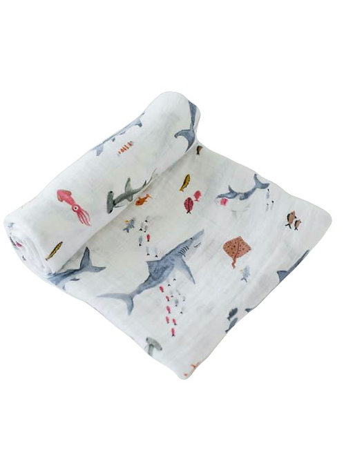 Little Unicorn - Cotton Muslin Swaddle - Shark