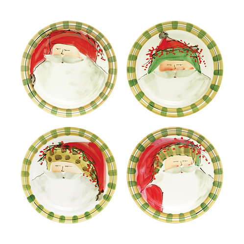 Old St. Nick Assorted Round Salad Plates - Set of 4