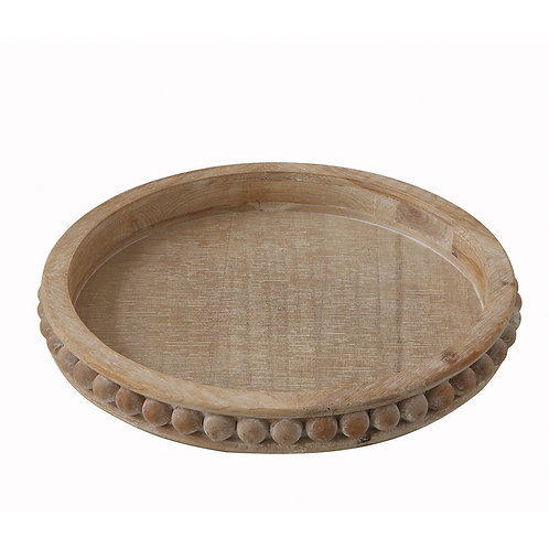 Whitewashed Round Wood Tray