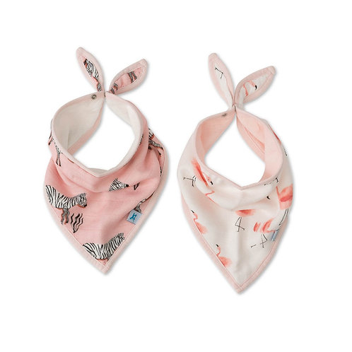 Little Unicorn - Deluxe Muslin Bandana  2 Pack - Zebra/Pink Ladies