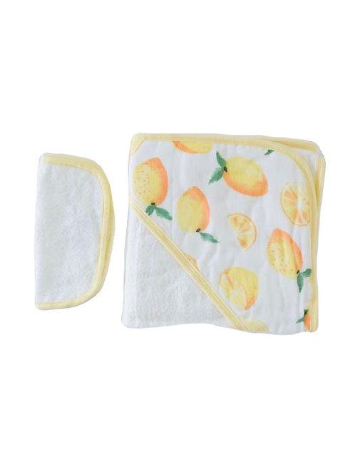 Hooded Towel & Washcloth Set - Lemon