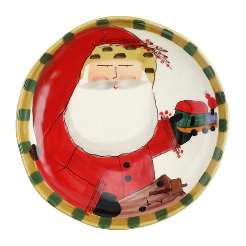 Old St. Nick Round Shallow Bowl with Train