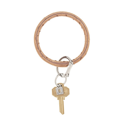 Big O Key Ring - Mocha Ostrich - Leather