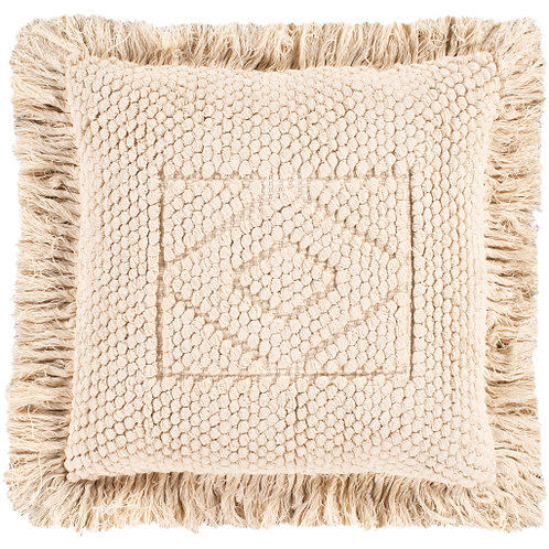 Cream Fringe Pillow