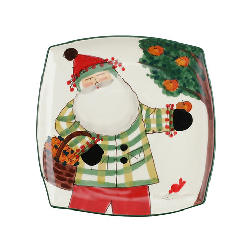Old St. Nick Handled Square Platter with Apples