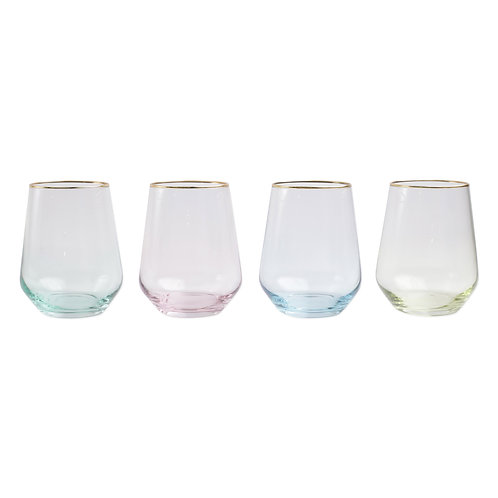 Rainbow Assorted Stemless Wine Glasses -Set of 4