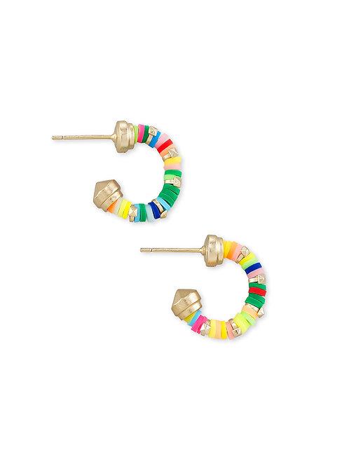 Reece Gold Huggie Earrings In Neon Mix