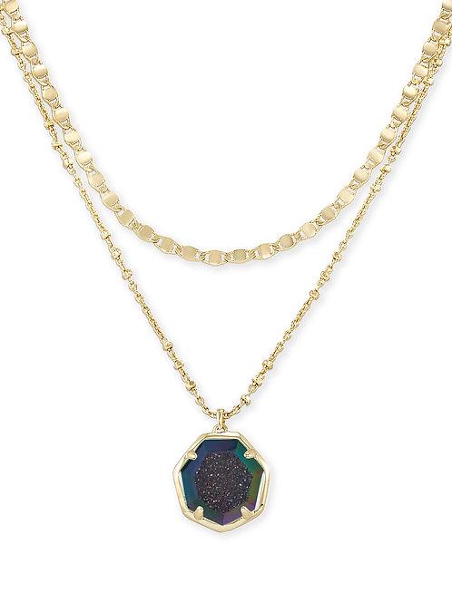 Cynthia Gold Multi Strand Necklace In Mystic Gray Drusy  842177060513Detailshttp