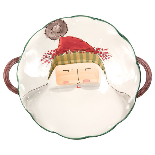 Old St. Nick Handled Scallop Bowl w/Face
