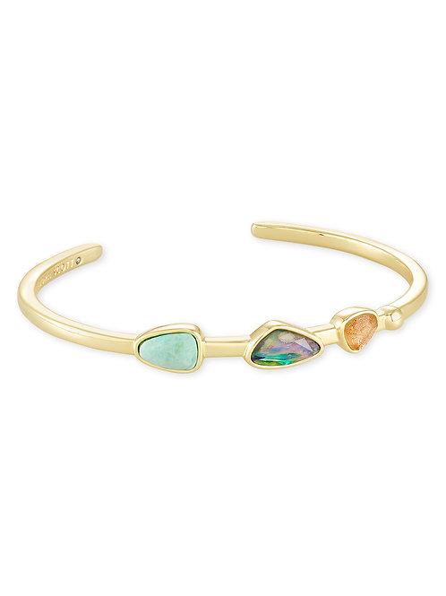 Ivy Gold Cuff Bracelet - Sea Green