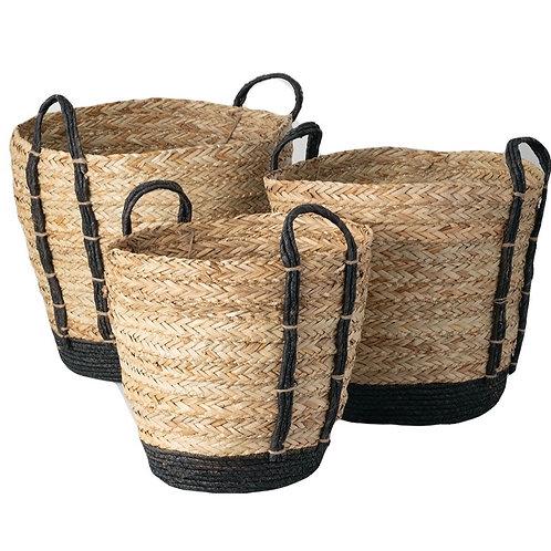 Black Handled Baskets - Set of 3