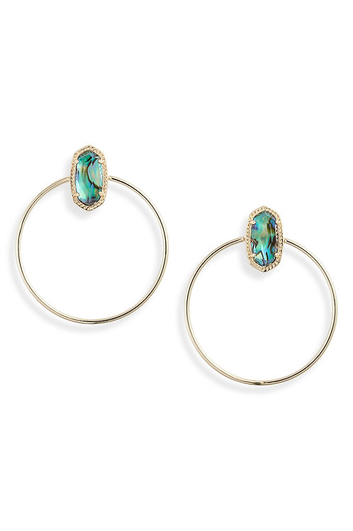 MAYRA OPEN FRAME EARRING GOLD ABALONE SHELL