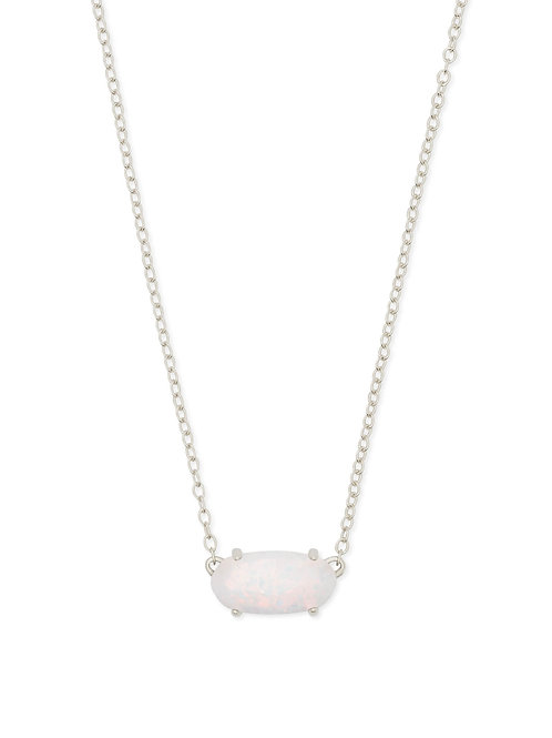 Ever Silver Pendant Necklace In White Kyocera Opal