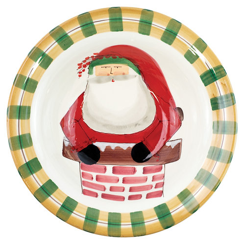 Old St. Nick Rimmed Large Bowl - Santa in Chimney