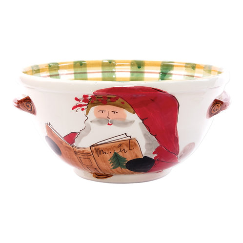 Old St. Nick Handled Bowl w/Santa Reading