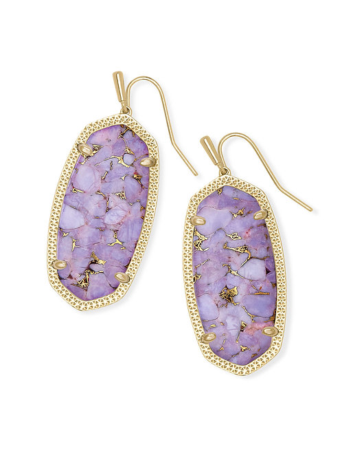 Elle Gold Drop Earrings In Bronze Veined Lilac Magnesite