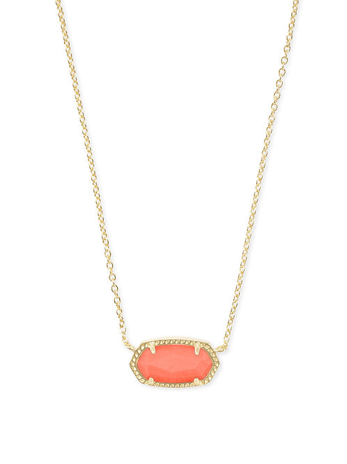 Elisa Gold Pendant Necklace In Bright Coral Magnesite