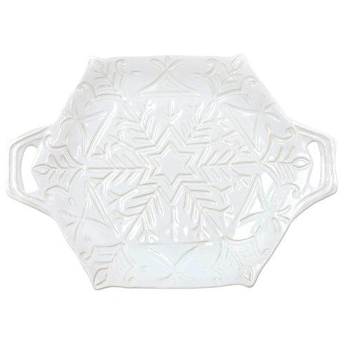 Incanto Stone Winterland White Snowflake Handled Platter