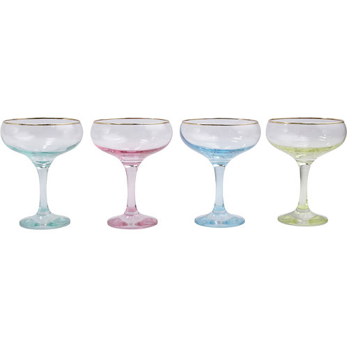 Rainbow Assorted Couple Champagne Glasses -Set of 4