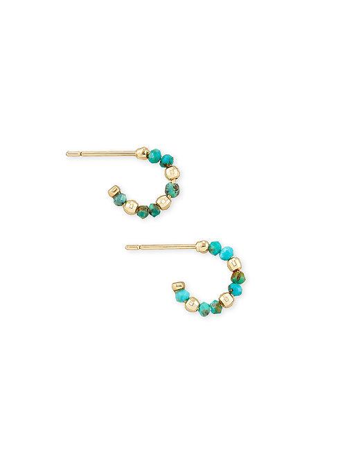 Scarlet Gold Huggie Earrings - Turquoise