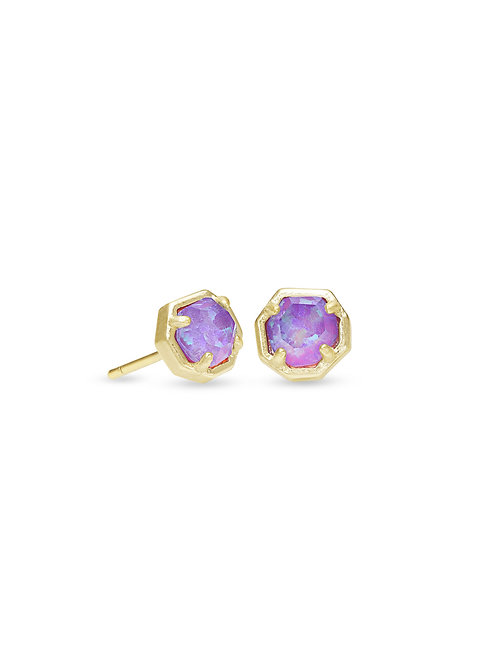 Nola Gold Stud Earrings In Violet Kyocera Opal Illusion