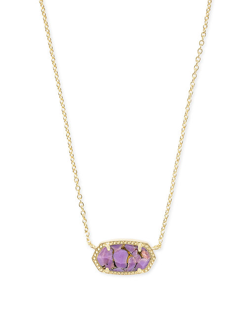 Elisa Gold Pendant Necklace In Bronze Veined Lilac Magnesite