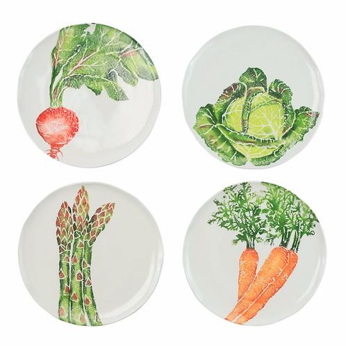 Spring Vegetables Assorted Salad Plates - Set of 4