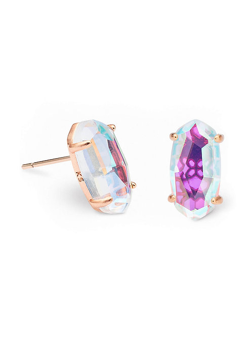 Betty Rose Gold Stud Earrings In Dichroic Glass