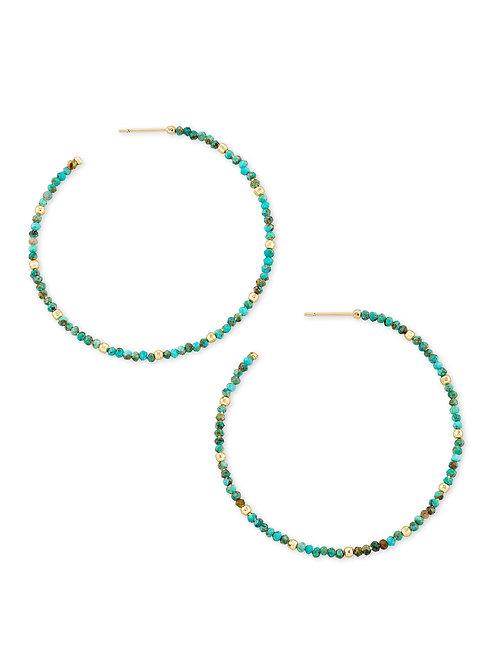 Scarlet Hoop Earring - Gold Turquoise