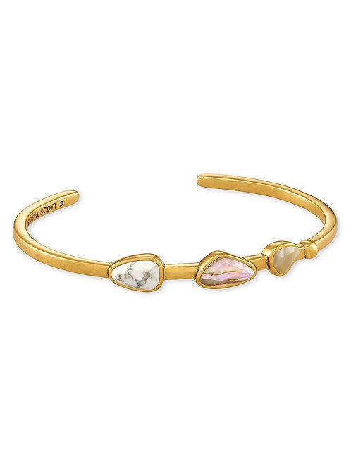 Ivy Vintage Gold Cuff Bracelet - WhiteMix