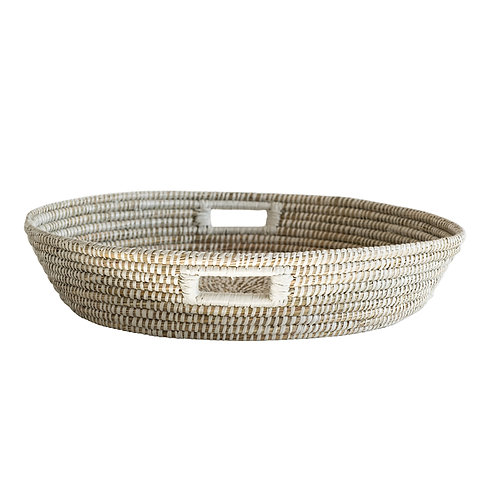 Shallow White Handwoven Grass Basket with Handles
