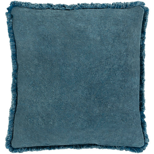 Washed Cotton Velvet Pillow - Denim Blue