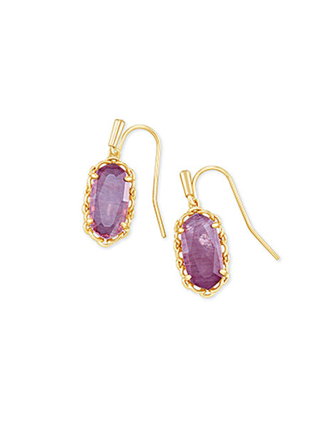 MACRAME LEE EARRING GOLD PURPLE MICA