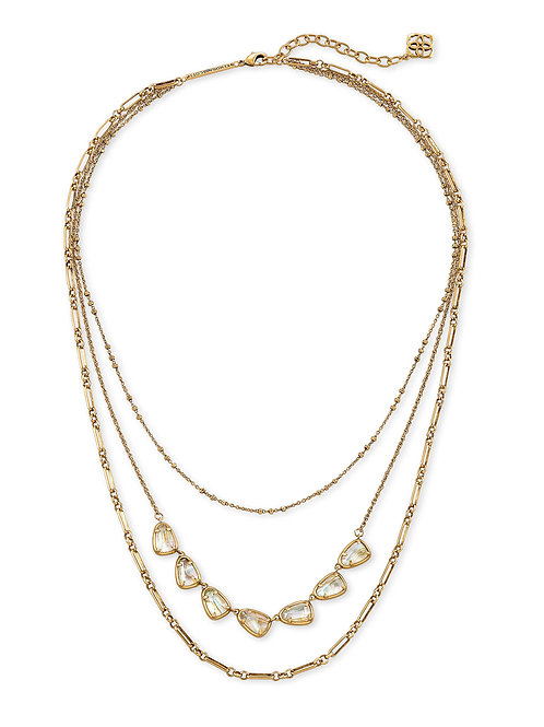 Susanna Vintage Gold Multi Strand Necklace - White Abalone