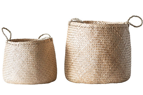 Beige Woven Seagrass Basket with Handles - Set of 2