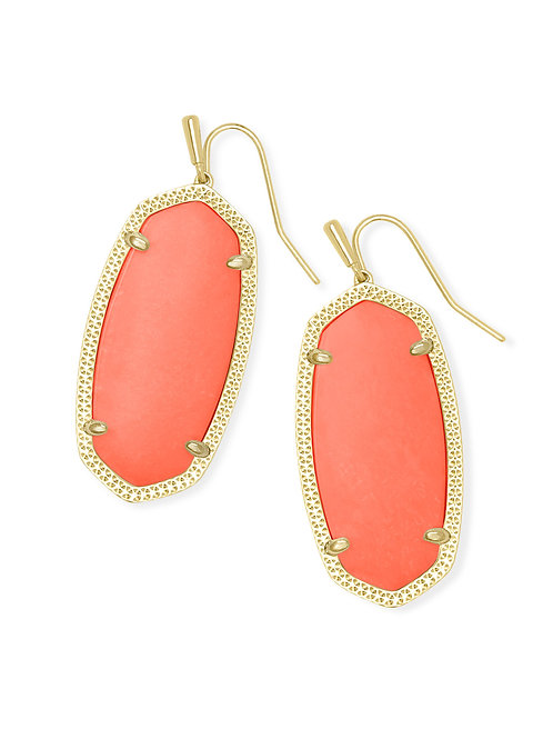Elle Gold Drop Earrings In Bright Coral Magnesite