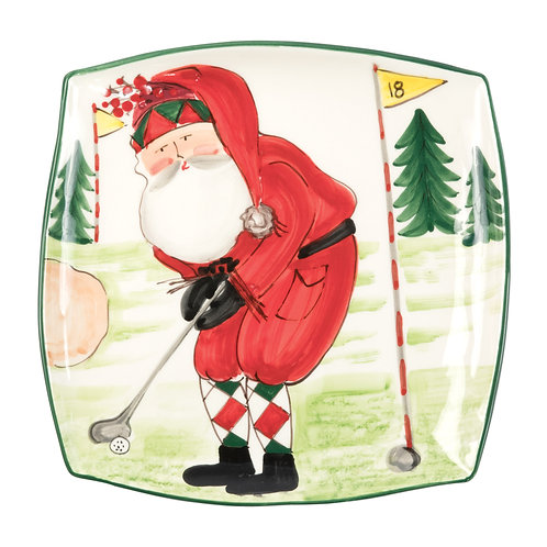 Old St. Nick Square Platter - Golfing