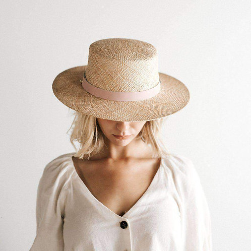 GIGI PIP - Brae Straw Boater With Pink Leather Band
