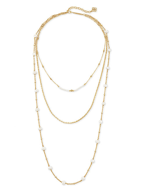 Scarlet Gold Multi Strand Necklace - White Pearl