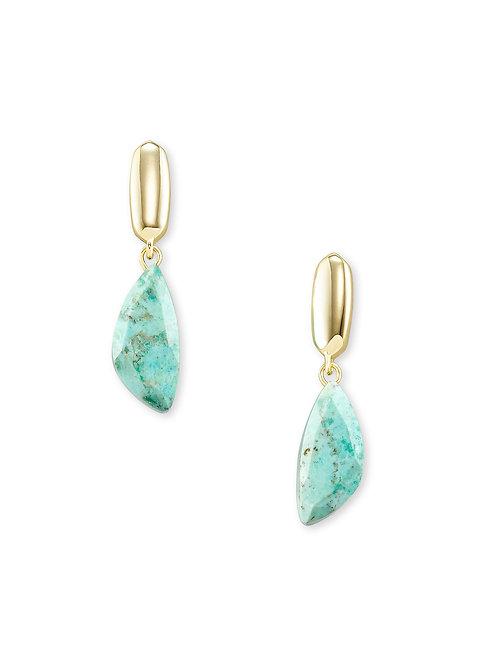 Ivy Gold Drop Earrings - Sea Green